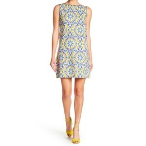 BETSEY JOHNSON Retro Shift Dress 10 Yellow Blue
